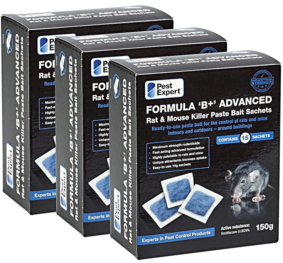 45 x Pest Expert Formula /'B/'  Rat Poison Pasta Paste Bait 450g /& Rodent Bait Box